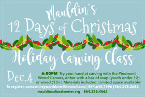 Holiday Carving Class @ Mauldin Cultural Center | Mauldin | South Carolina | United States