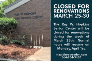 Ray W. Hopkins Senior Center Closed for Renovations @ Ray W Hopkins Senior Center | Greenville | South Carolina | United States