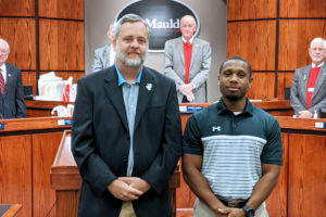 Recreation Director Joe Lanahan (left) with athletic coordinator Willie Stewart (right) at the December 16, 2019 Mauldin City Council Meeting.